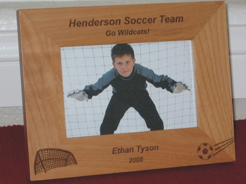 Soccer Picture Frame - Personalized Frame - Laser Engraved Soccer Ball and Goal