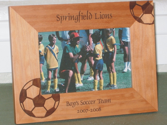 Soccer Team Picture Frame - Personalized Frame - Laser Engraved Soccer Balls (Large)