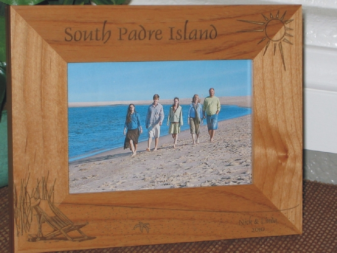 South Padre Island Picture Frame - Personalized Frame - Laser Engraved Beach Theme