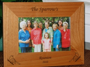 Sparrow Picture Frame - Personalized Frame - Laser Engraved Sparrows
