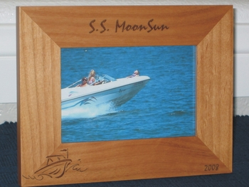 Speed Boat Picture Frame - Personalized Frame - Laser Engraved Speed Boat