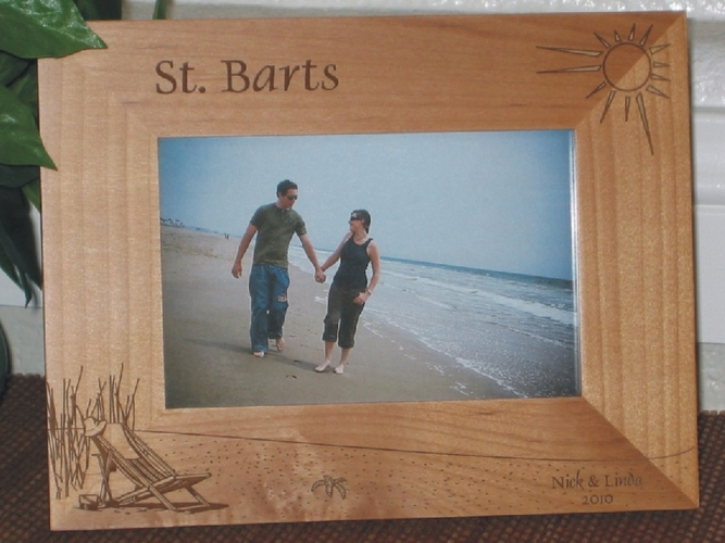 St Barts Picture Frame - Personalized Frame - Laser Engraved Beach Theme