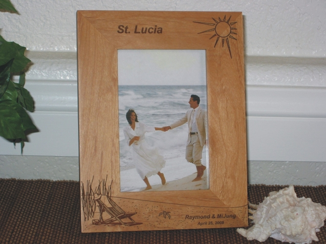 St. Lucia Picture Frame - Personalized Frame - Laser Engraved Beach Theme