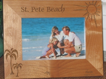 St Pete Beach Picture FRame - Personalized Frame - Laser Engraved Palm Tree & Beach