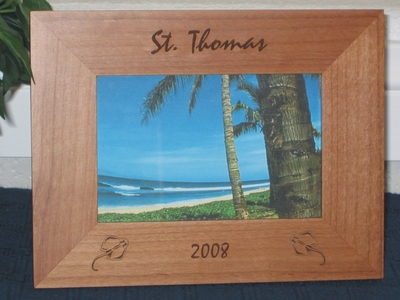 St. Thomas Picture Frame - Personalized Frame - Laser Engraved Sting Rays