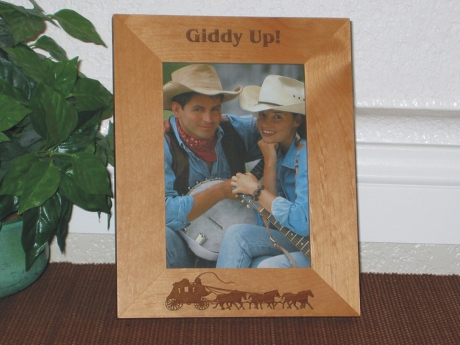 Stagecoach Picture Frame - Personalized Western Frame - Laser Engraved Stagecoach