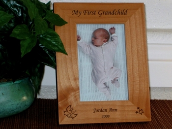 Star Moon Picture Frame - Personalized Baby Frame - Laser Engraved Star Moon