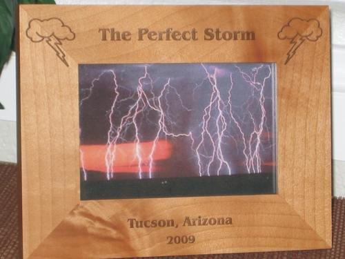 Storm Clouds Picture Frame - Personalized Frame - Laser Engraved Storm Clouds Lightning