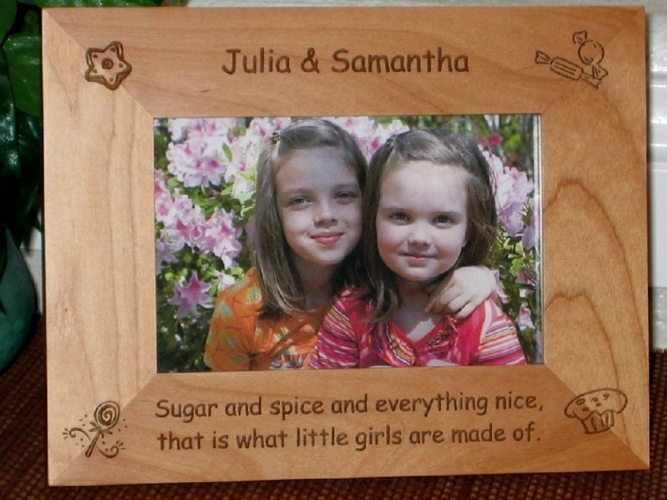 Sugar and Spice Picture Frame - Personalized Frame - Laser Engraved Sugar and Spice Poem