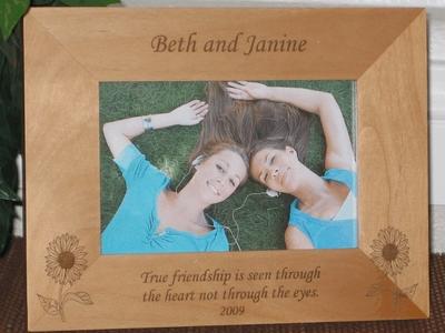 Sunflower Picture Frame - Personalized Frame - Laser Engraved Sunflowers