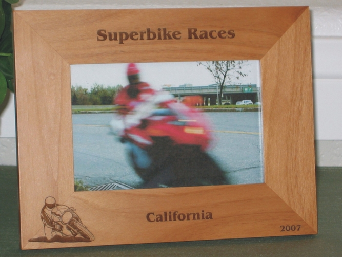 Superbike Picture Frame - Personalized Frame - Laser Engraved Superbike