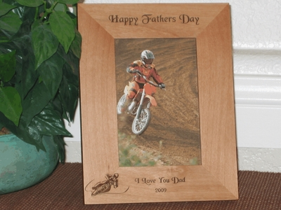 Supermoto Picture Frame - Personalized Frame - Laser Engraved Dirt Bike