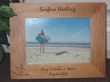 Surfing Picture Frame - Personalized Frame - Laser Engraved Surfer