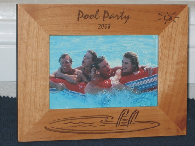 Swimming Pool Picture Frame - Personalized Frame - Laser Engraved Swimming Pool Party Theme