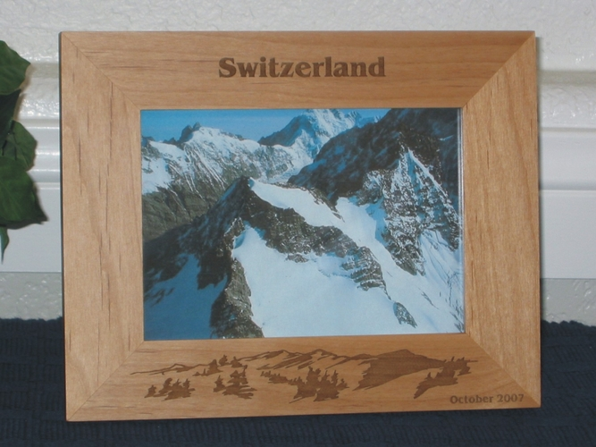 Switzerland Picture Frame - Personalized Frame - Laser Engraved Mountains