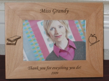 Teacher Picture Frame - Personalized Frame - Laser Engraved Books, Pencil, Apple