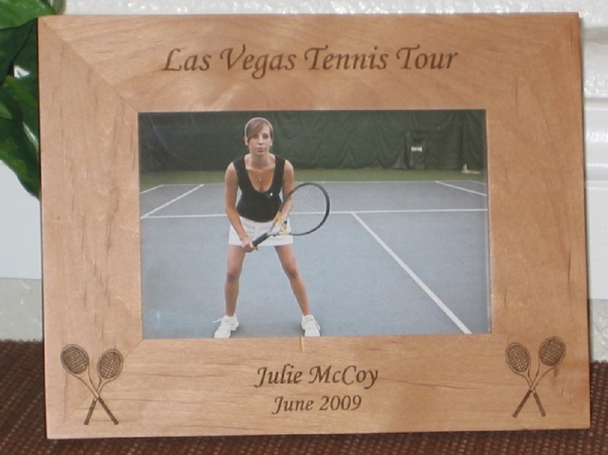 Tennis Picture Frame - Personalized Sports Frame - Laser Engraved Tennis Theme