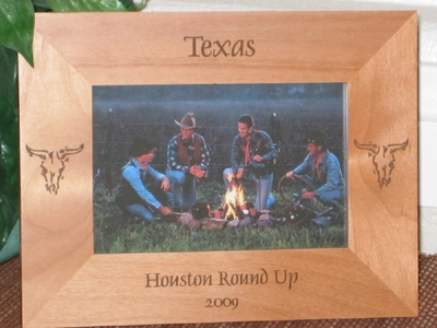 Texas Cow Skull Picture Frame - Personalized Frame - Laser Engraved Cow Skulls