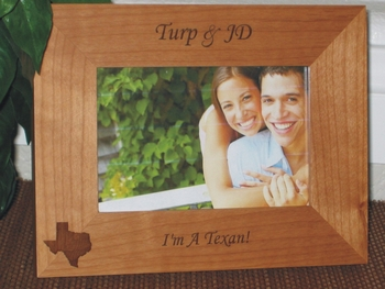 Texas Picture Frame - Personalized Souvenir Frame - Laser Engraved State of Texas