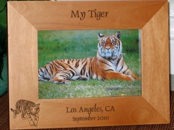 Tiger Picture Frame - Personalized Frame - Laser Engraved Tiger