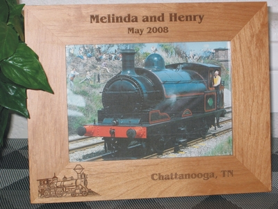Train Picture Frame - Personalized Frame - Laser Engraved Train