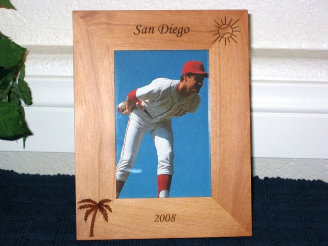 Tropical Baseball Picture Frame - Personalized Frame - Laser Engraved Baseball Sun & Palm