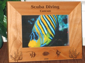 Tropical Fish Picture Frame - Personalized Frame - Laser Engraved Tropical Fish Theme