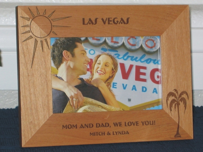 Tropical Picture Frame - Personalized Frame - Laser Engraved Palm Tree and Sun Tropical