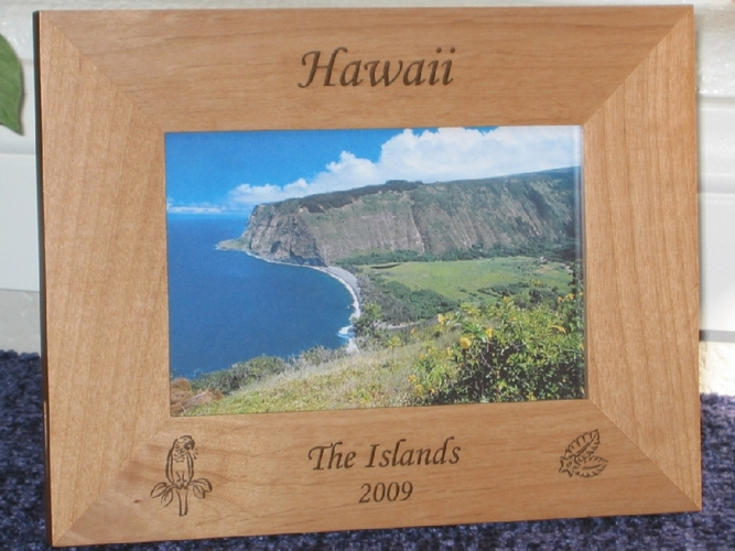 Tropical Picture Frame - Personalized Frame - Laser Engraved Tropical Bird