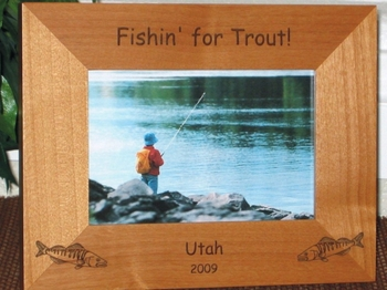 Trout Picture Frame - Personalized Frame - Laser Engraved Trout Fish