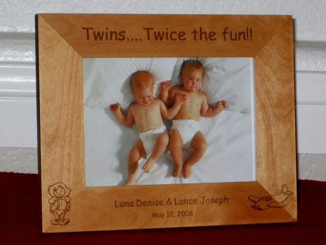 Twin Picture Frame - Personalized Frame - Laser Engraved Twins