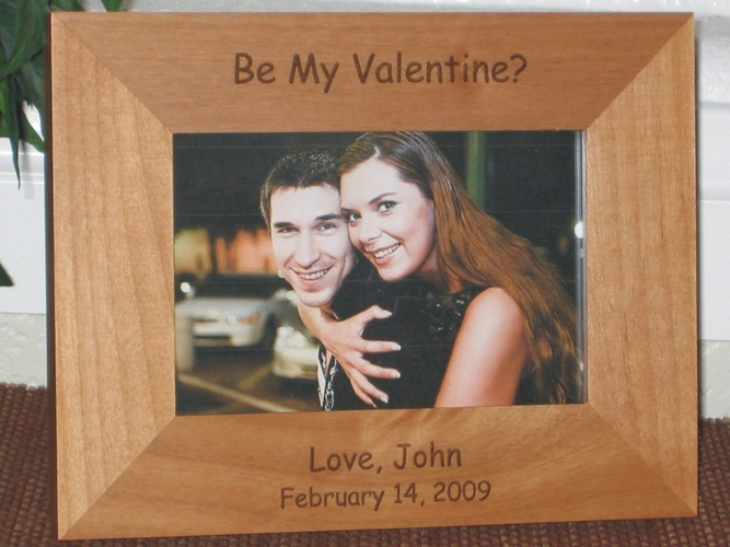 Valentine's Day Picture Frame - Personalized Frame - Laser Engraved Text