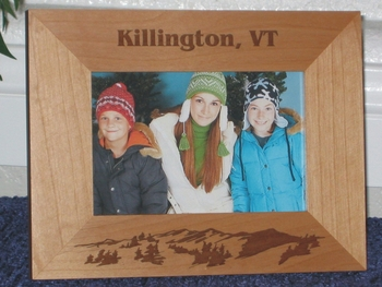 Vermont Picture Frame - Personalized Frame - Laser Engraved Mountains