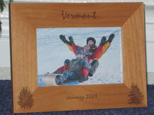 Vermont Picture Frame - Personalized Frame - Laser Engraved Pine Trees