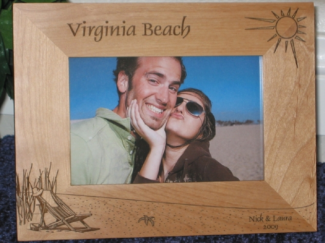 Virginia Beach Picture Frame - Personalized Frame - Laser Engraved Beach Theme