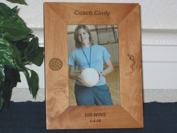 Volleyball Coach Picture Frame - Personalized Frame - Laser Engraved Volleyball and Coach Whistle