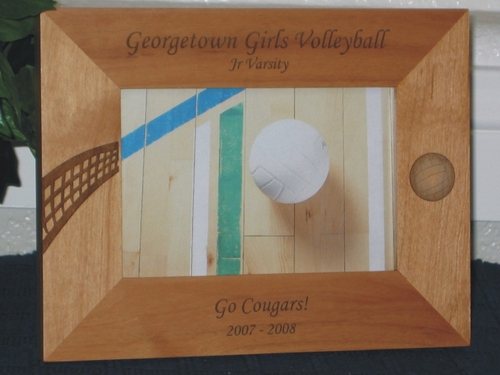 Volleyball Picture Frame - Personalized Frame - Laser Engraved Volleyball Net and Volleyball