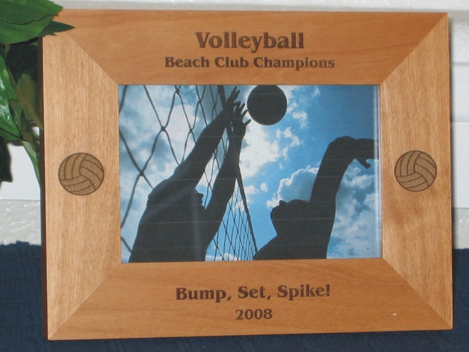 Volleyball Picture Frame - Personalized Frame - Laser Engraved Volleyballs