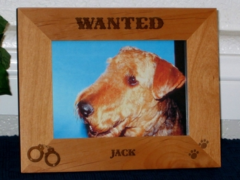 Wanted Dog Picture Frame - Personalized Frame - Laser Engraved Handcuffs and Pawprints