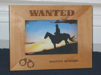 Wanted Picture Frame - Personalized Frame - Laser Engraved Handcuffs