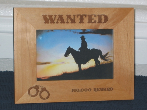 Wanted Picture Frame - Personalized Frame - Laser Engraved Handcuffs & Western Font