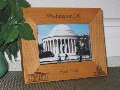Washington DC Picture Frame - Personalized Frame - Laser Engraved Capital and White House
