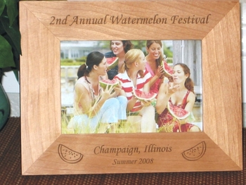 Watermelon Picture Frame - Personalized Frame - Laser Engraved Watermelon