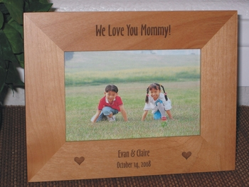 We Love Mom Picture Frame - Personalized Frame  - Laser Engraved Hearts