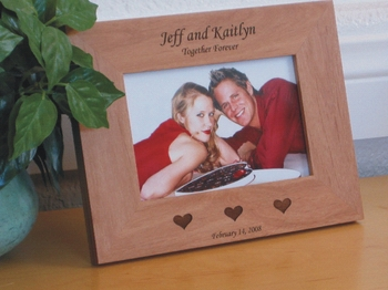 Wedding Picture Frame - Personalized Frame - Laser Engraved Hearts - Bride & Groom