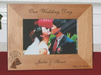 Wedding Picture Frame - Personalized Frame - Laser Engraved Wedding Bells