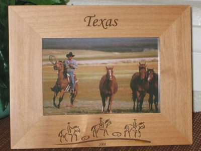 Western Picture Frame - Personalized Frame - Laser Engraved Cowboys