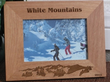 White Mountains Picture Frame - Personalized Frame - Laser Engraved Mountains