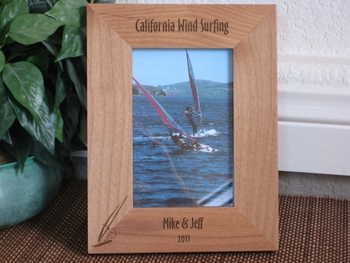 Wind Surfing Picture Frame - Personalized Frame - Laser Engraved Wind Surfing