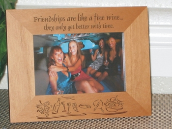 Wine Cheese Party Picture Frame - Personalized Frame - Laser Engraved Wine Cheese Party Theme
